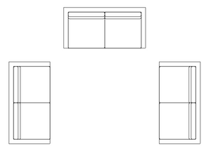3 Copies of the same sofa block before applying a change in Autocad