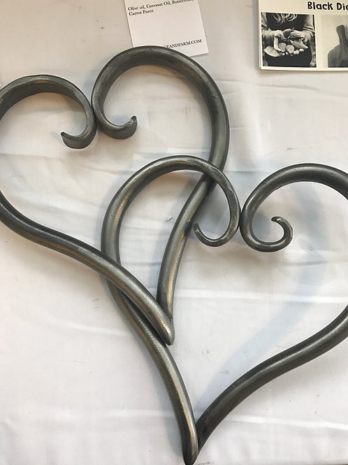 Hand Forged Interlocking Steel Hearts
