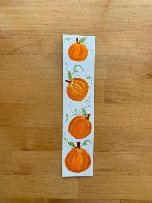 ORIGINAL Watercolor Bookmark - Small Pumpkins - NOT A PRINT