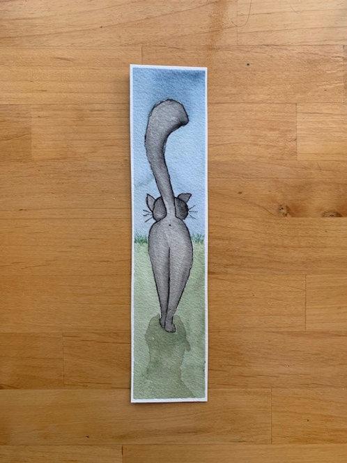 ORIGINAL Watercolor Bookmark - Cat Butt - NOT A PRINT