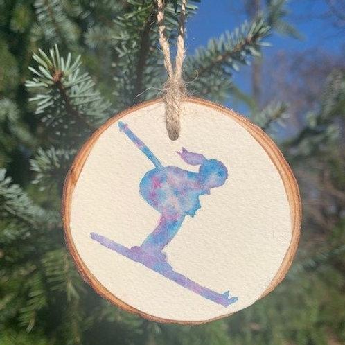 ORIGINAL Watercolor Ornament - Skiing Girl