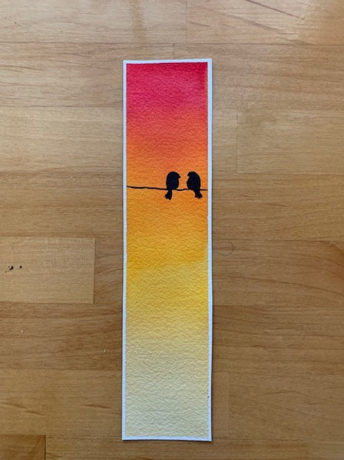 ORIGINAL Watercolor Bookmark - Birds on a Wire - NOT A PRINT