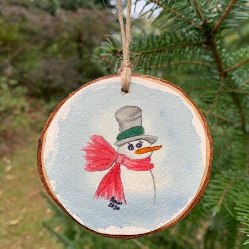 ORIGINAL Watercolor Christmas Ornament - Snowman with Cozy Scarf