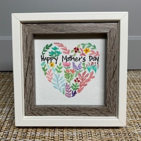 Mother's Day Floral Heart - Framed Original Watercolor