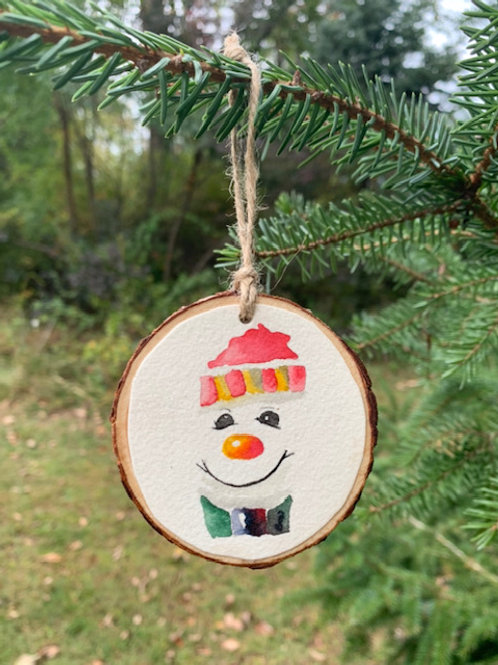 ORIGINAL Watercolor Christmas Ornament - Snowman's Face