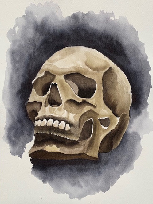 ORIGINAL Watercolor Painting - Halloween Skull