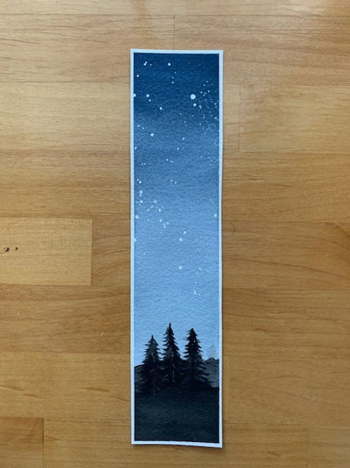 ORIGINAL Watercolor Bookmark - Starry Night - NOT A PRINT