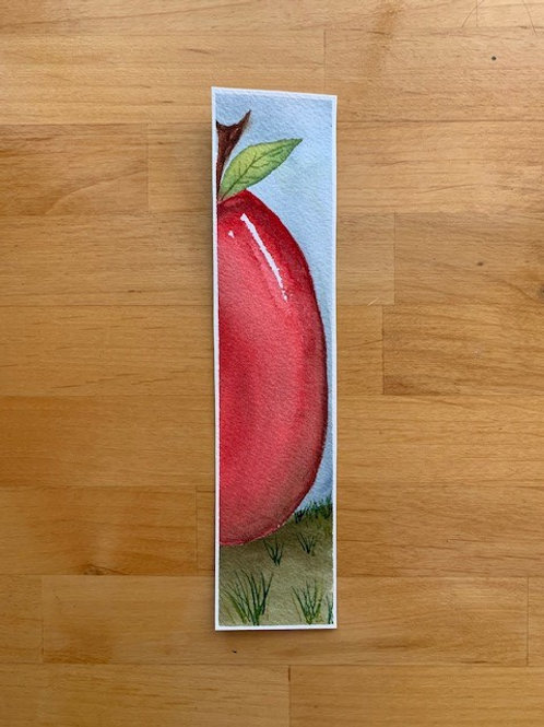 ORIGINAL Watercolor Bookmark - Large Apple - NOT A PRINT