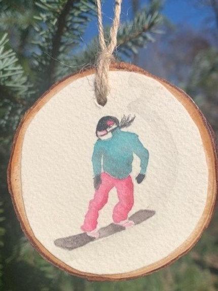 ORIGINAL Watercolor Ornament - Snowboarding Girl