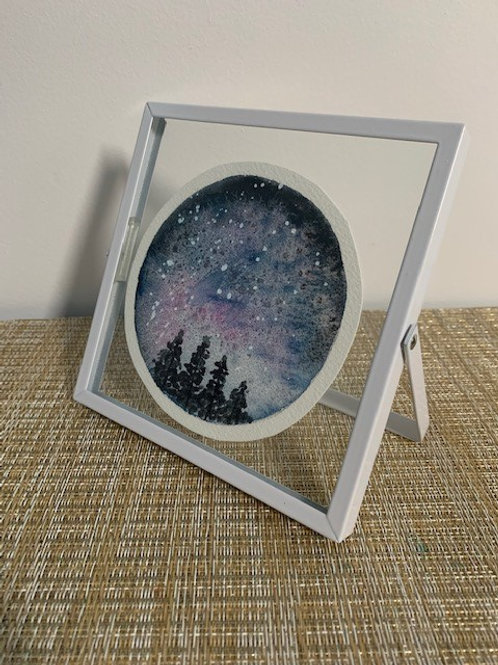 ORIGINAL Watercolor Framed Painting - Galaxy