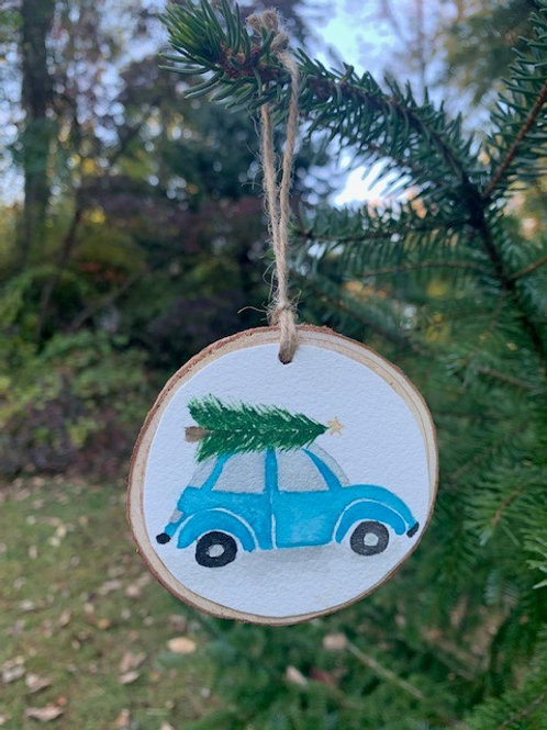 ORIGINAL Watercolor Ornament - Blue VW Bug
