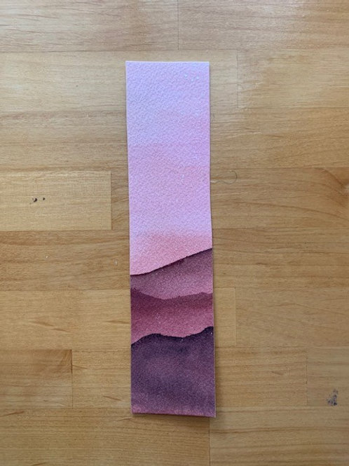 ORIGINAL Watercolor Bookmark - Pink Mountains - NOT A PRINT