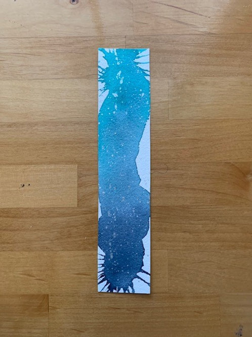 ORIGINAL Watercolor Bookmark - Teal Abstract - NOT A PRINT