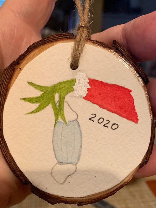 ORIGINAL Watercolor Ornament -2020 Grinch Hand