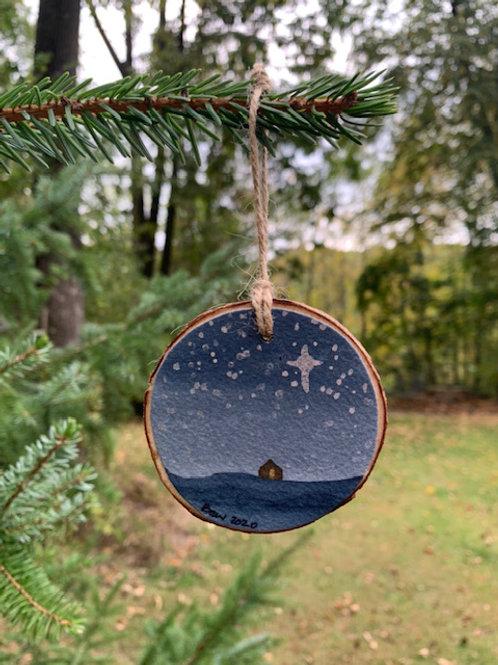 ORIGINAL Watercolor Christmas Ornament - Starry Night