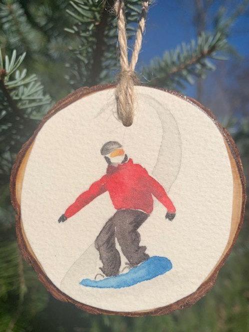 ORIGINAL Watercolor Ornament - Snowboarding Boy