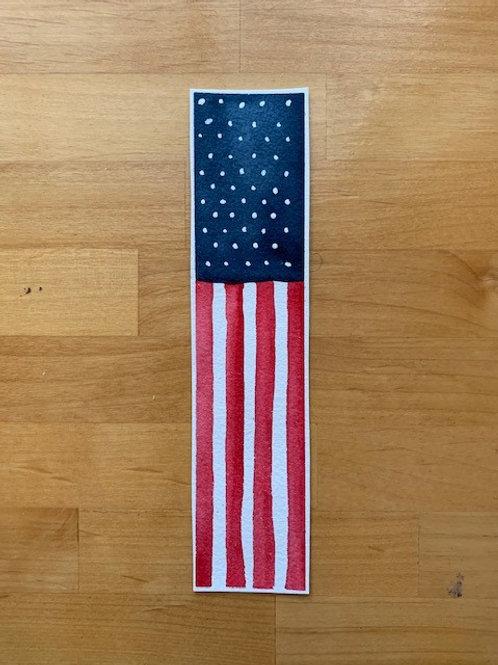 ORIGINAL Watercolor Bookmark - American Flag - NOT A PRINT