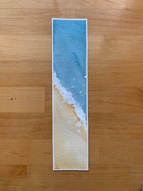 ORIGINAL Watercolor Bookmark - Diagonal Surf - NOT A PRINT