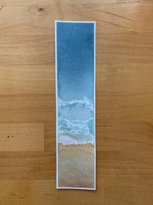 ORIGINAL Watercolor Bookmark - Ocean - NOT A PRINT