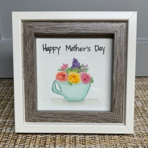 Mother's Day Tea Cup - Original Framed Watercolor Painting