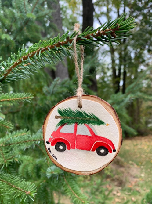 ORIGINAL Watercolor Ornament - Red VW Beetle
