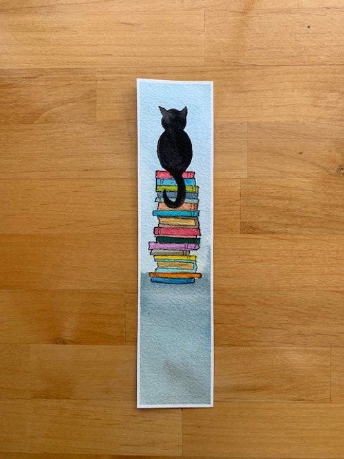 ORIGINAL Watercolor Bookmark - Cat on Book Stack - NOT A PRINT
