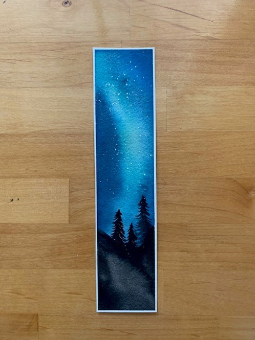 ORIGINAL Watercolor Bookmark - Northern Lights - NOT A PRINT