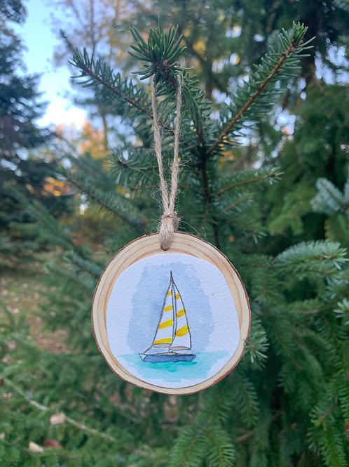 ORIGINAL Watercolor Ornament - Sailboat