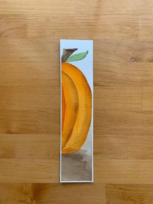 ORIGINAL Watercolor Bookmark - Large Pumpkin - NOT A PRINT