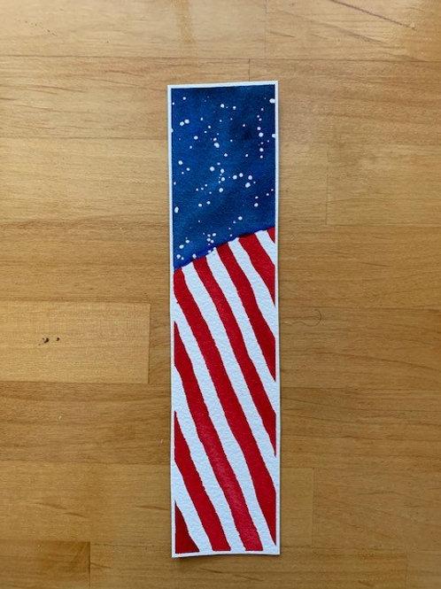 ORIGINAL Watercolor Bookmark - Abstract Flag - NOT A PRINT