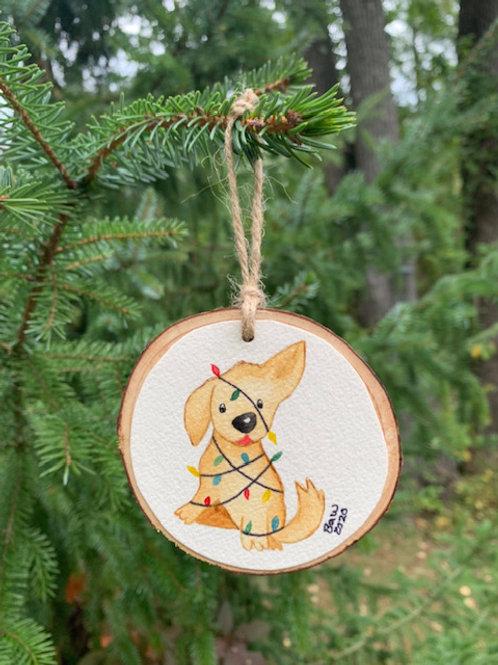 ORIGINAL Watercolor Christmas Ornament - Cute Puppy