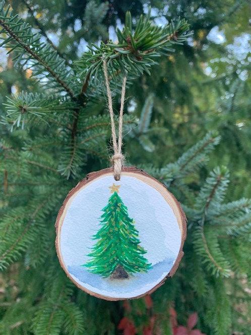 ORIGINAL Watercolor Ornament - Santa