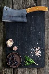 Old cleaver (butcher meat knife) and spi