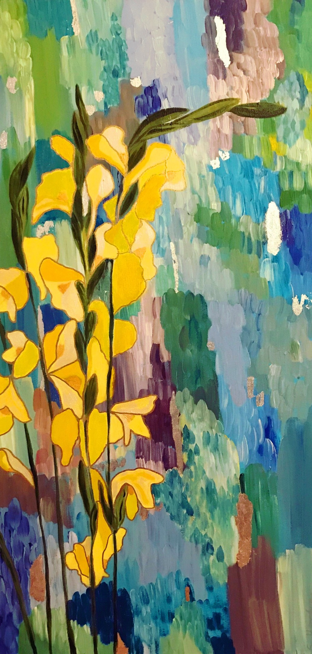 Yellow Flowers on Blues 24 x 48
