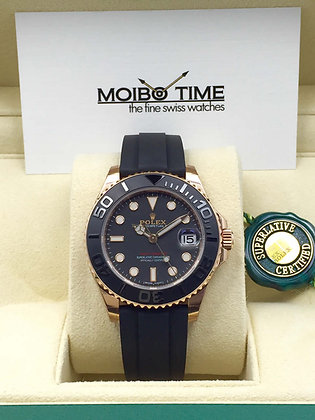 Rolex Yacht Master 18ct Everose Gold Oysterflex Black Dial 37mm 268655