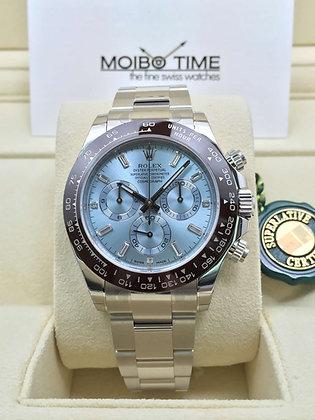 Rolex Platinum Cosmograph Daytona Ice Blue Baguette Dial 116506A