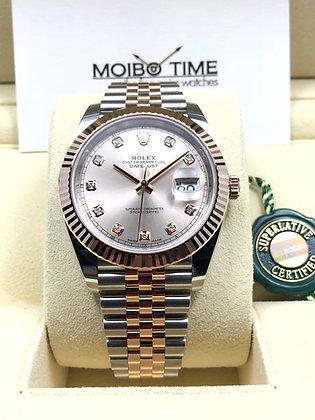 Rolex Datejust II 41 18ct Everose Gold Steel Sundust Diamonds Dial 126