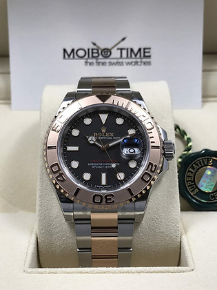 Rolex Yacht Master 18ct Everose Gold Steel Black Dial 40mm 116621