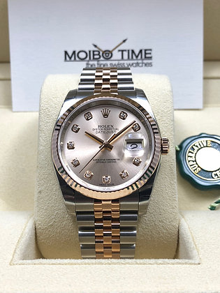 Rolex Datejust 36mm 18ct Everose Gold Steel Pink Diamonds Dial