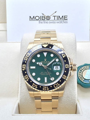 Rolex GMT-Master II 18ct Yellow Gold Green Dial 116718LN
