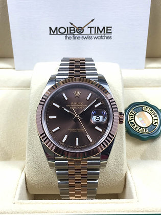 Rolex Datejust II 41 18ct Everose Gold Steel Chocolate Index Dial 126331