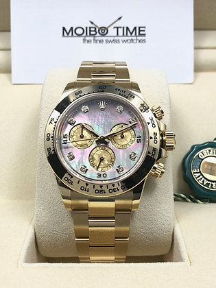 Rolex 18ct Yellow Gold Daytona Black MOP Gold Crystal Diamond Dial 116508