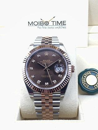 Rolex Datejust II 41 18ct Everose Gold Steel Chocolate Diamonds Dial 126331