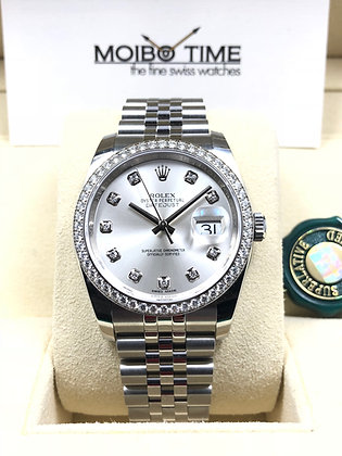 Rolex Datejust 36 Silver Diamond Dial 116244G
