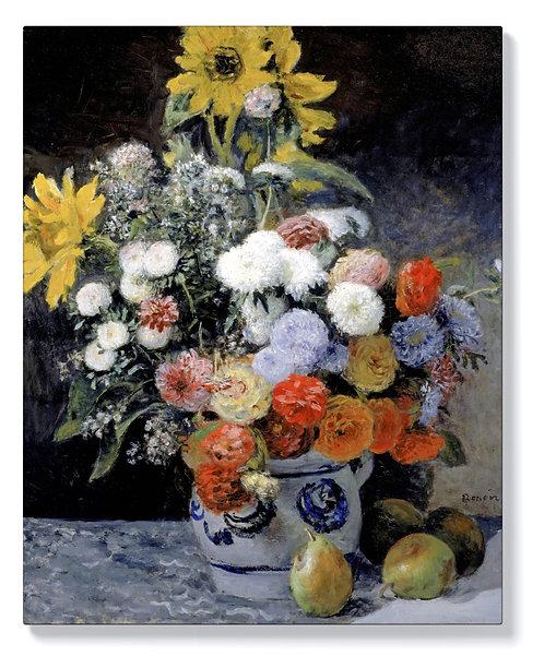 Реноар - Смесени цветя в глинена саксия