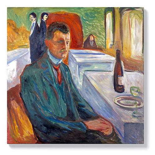 Едвард Мунк - Автопортрет с бутилка вино