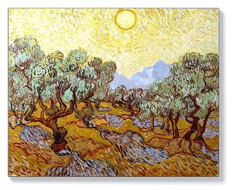 Ван Гог - Маслинови дървета с жълто небе и слънце