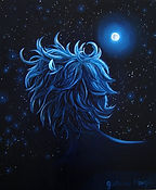 Huile sur toile, peinture, Garance Monziès, autoportrait, mer, bateau, thérapie, lune, étoiles