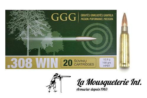 20 cartouches 308win GGG 168grs HPBT