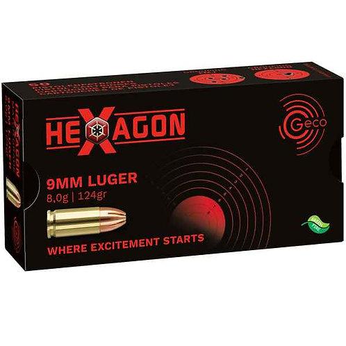 Munitions GECO 9mm LUGER 124GR/8.0G HEXAGON X50